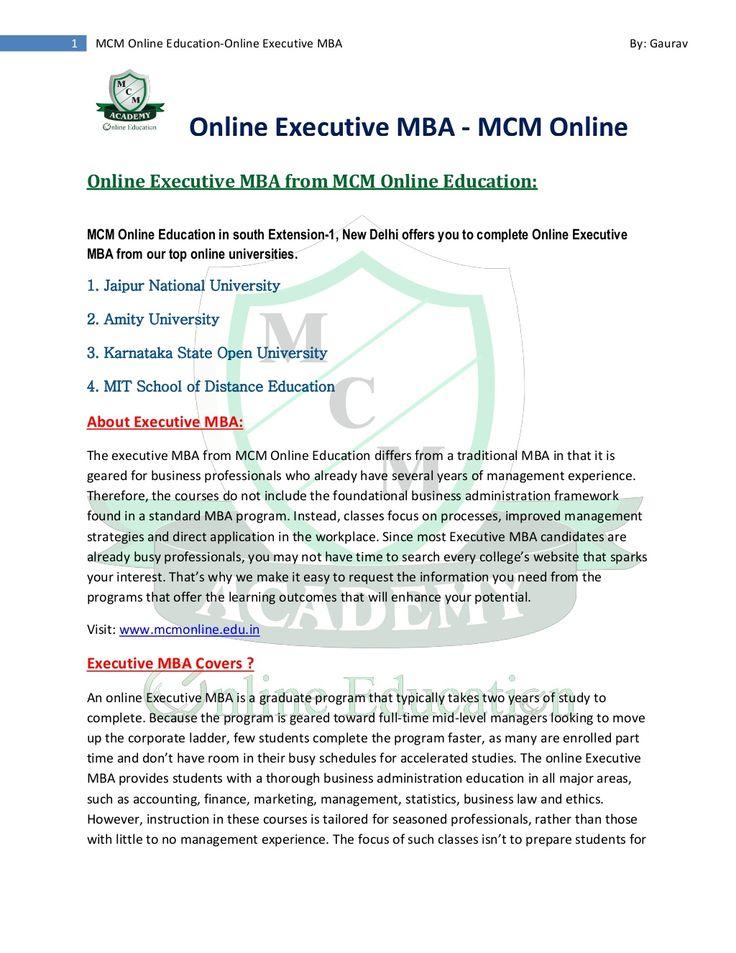 Online executive mba   amity university   jaipur national university   MIT  ksou by MCM Online Education via slideshare