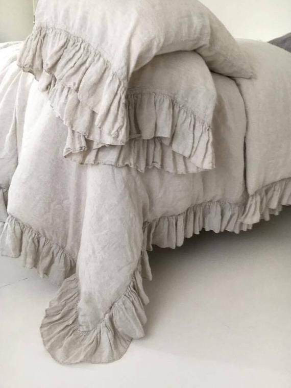 Washed /& softened Made by mooshop Bed Pillows Linen pillowcase with ruffles