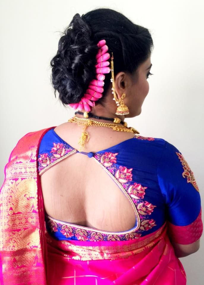 Special occasion hairstyle by Swank Studio. Find us at https://www.facebook.com/SwankStudioBangalore  #Saree #Blouse #Design #HairAccessory