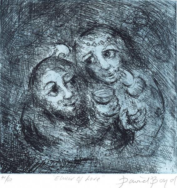 David Boyd (Aus., b.1924) Elixir of Love, 2000. Etching printed in blue and black,