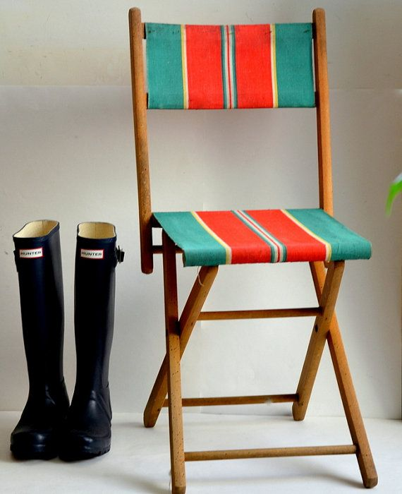 Folding garden chair camping, fishing French vintage 1940s