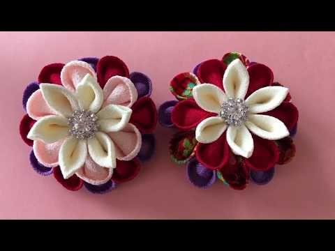 つまみ細工 kanzashi flower 着物髪飾り 浴衣髪飾り作り方 - YouTube