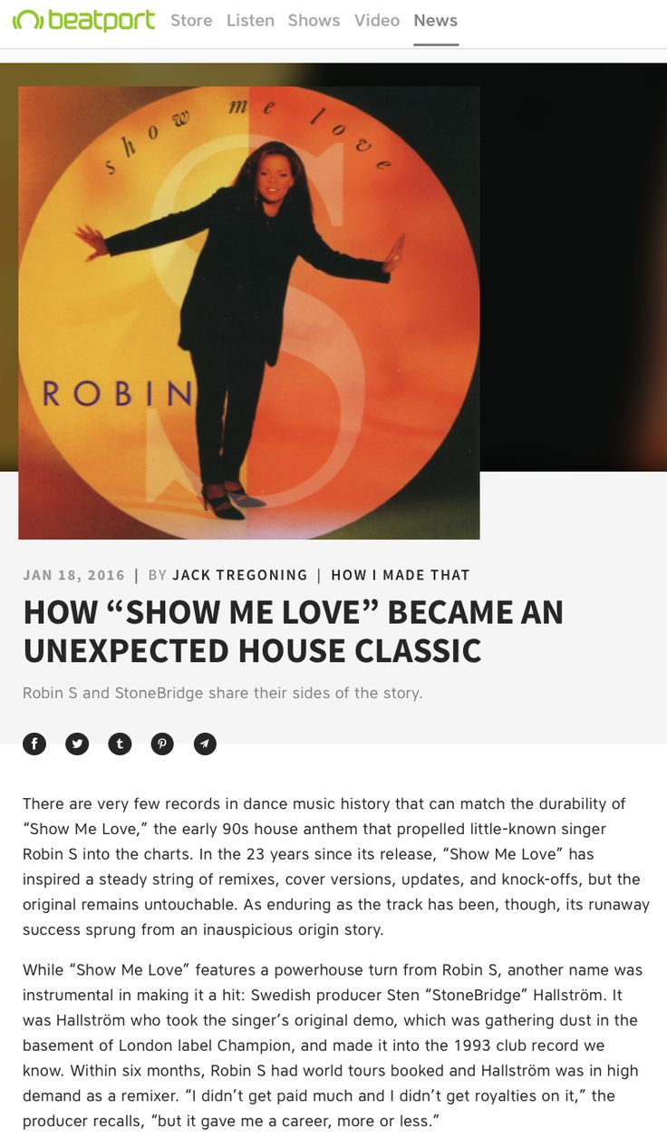 Robin S and I had a little chat with Jack Tregoning over at Beatport News about the unexpected hit 'Show Me Love'. Some new theories and insights revealed - check it out https://news.beatport.com/us/how-show-me-love-became-an-unexpected-house-classic/