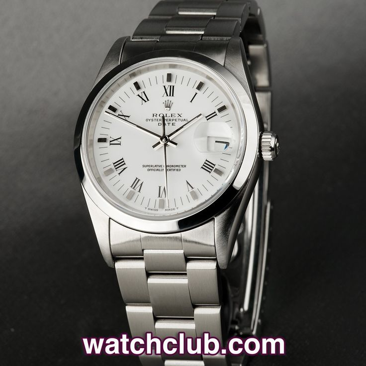 Rolex Date 34mm - 'Classic Model' REF: 15200 | Year 1993  - This classic Rolex Oyster Perpetual Date is in superb condition! Sporting a crisp white dial with silver applied markers and roman numerals, this 34mm stainess steel case houses Rolex's chronometer rated automatic movement and is waterproof to 100m. Fitted to a steel Oyster bracelet, we are pleased to present this watch with our 'Underwood for Watch Club' leather case and cover it with our 2 year warranty- for sale at Watch Club…