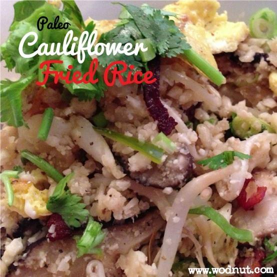 Paleo Cauliflower Fried rice #fauxrice #Wodnut #Paleorecipes