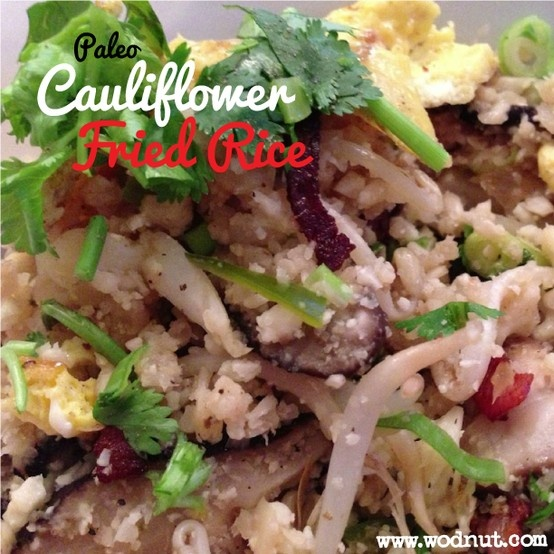 Paleo Cauliflower Fried rice #fauxrice #Wodnut #Paleorecipes