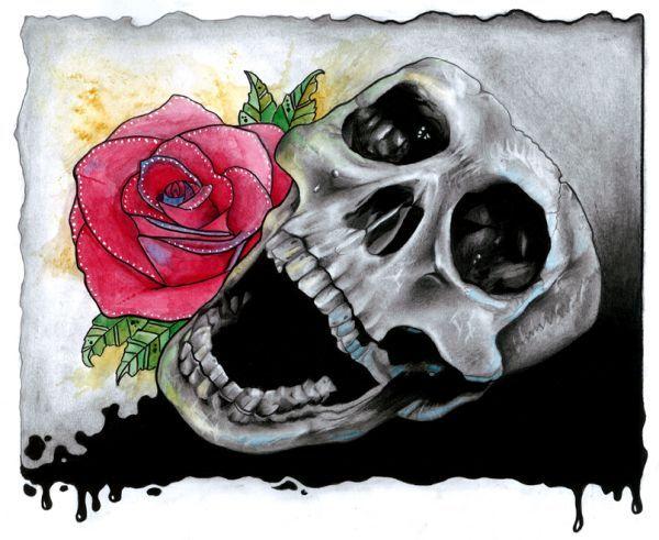 rose skull drawings - Google Search