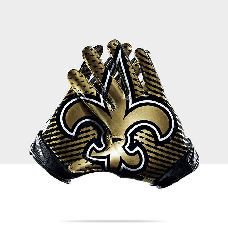 Nike Vapor Jet 2.0 (NFL Saints) Men's Football Gloves:  I'm not into any NFL teams, but I love how this is designed to show the logo through the spread fingers.  Really cool design!