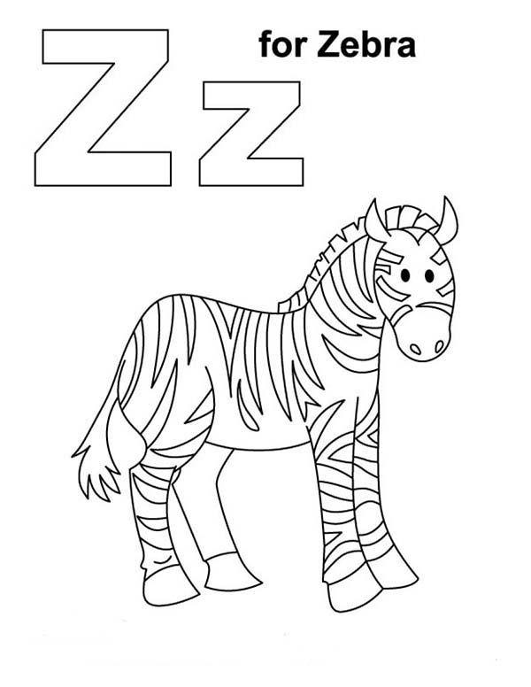 Zebra, : Z for Zebra Coloring Page