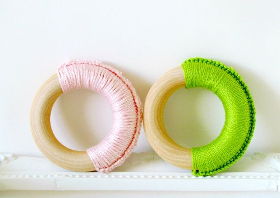 Eco Teethers for Baby Girl / Two Teething Rings / by FairyOfColor, $9.00