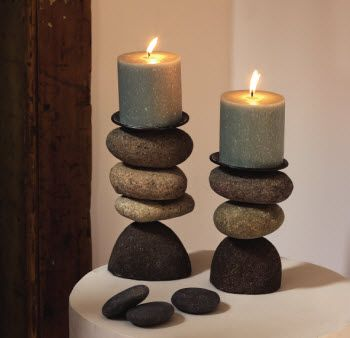 Product image for Cairn River Stone Candleholders-Set of 2