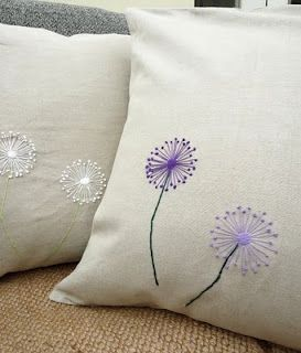 embroidered dandelions, for the porch