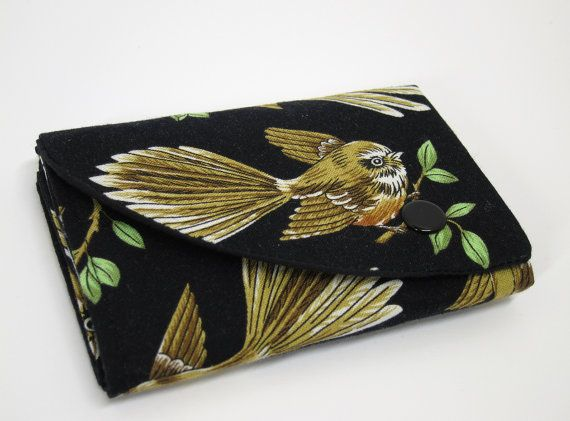 Compact Wallet  Fantail/Piwakawaka by thesewphist on Etsy