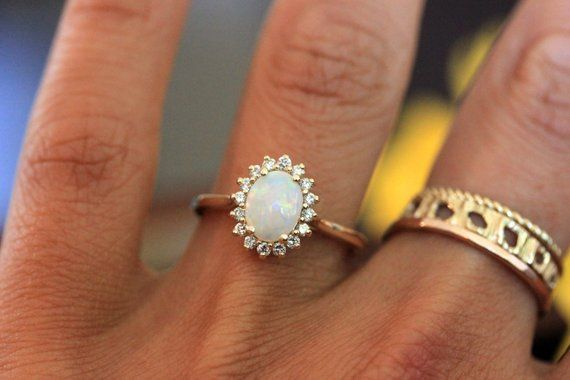 Opal Engagement Ring Vintage Inspired Diamond Halo Yellow Gold