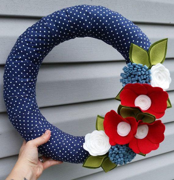 Summer wreath, 4th of july decor, patriotic wreath, fabric wreath, felt wreath…