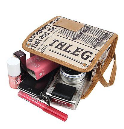 Antique Newspaper Instax Camera Bag