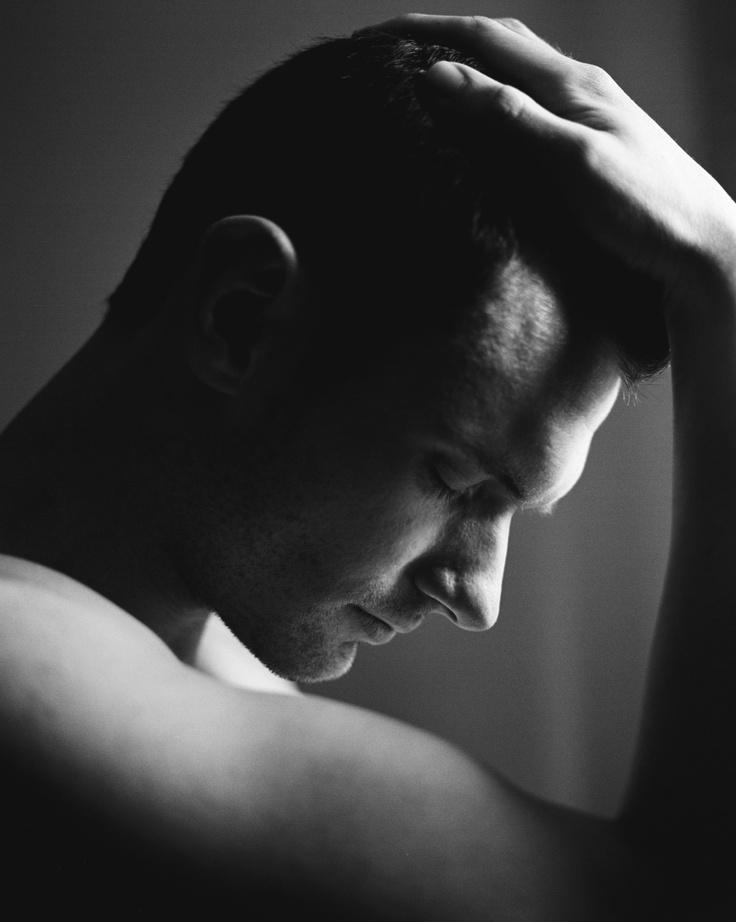 Male portrait . black and white . film