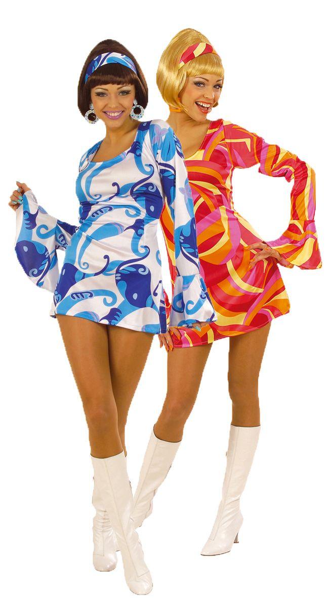 Costumi da coppia discoteca blu e rosso donne: Costume discoteca rosso per donna Questo costume da discoteca per donna è composto da un abito e una fascia. L'abito è rosso con un effetto satinato e motivi che ricordano gli anni '70. La fascia...