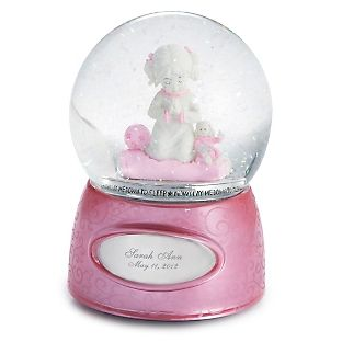 """♫ Plays """"The Lord is My Shepherd"""" / Personalized Praying Girl Musical Water Globe , Add Your Message"""