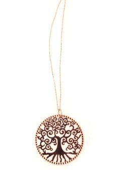 "Handmade silver necklace ""tree of life"" charm made of pink gold plated silver 925o with pink gold plated silver chain- Χειροποίητο ασημένιο κολιέ με μενταγιόν ""δέντρο της ζωής"" από ασήμι 925ο με ροζ επιχρύσωμα."