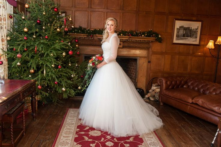 Beautiful Brides by the magnificent Leez Priory Christmas tree <3