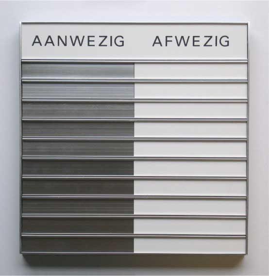 Aan en -Afwezigheids Schuifbord - http://blog.stempels.nl/2015/10/02/aan-en-afwezigheids-schuifbord/ #Aanwezig, #Afwezig - #Bewegwijzering