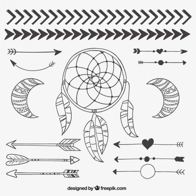 Elementi tribali disegnati a mano Vettore gratuito