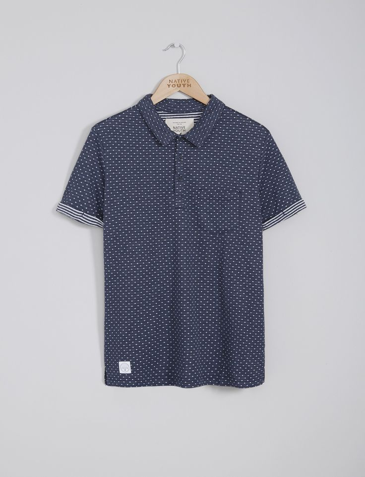 Mens Polo Shirts | Navy Polka Polo Shirt | Native Youth