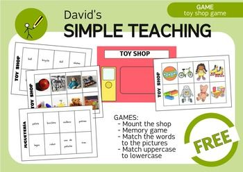 This game is a preview of the upcoming BILINGUAL SHOPS MEGAGAME. Checkit out!With this simple material you can play lots of games!- Put the correct word sign in the shop facade.- Put the correct cards in the window store.- Matching words with pictures.- Play a memory game.- Matching uppercase to lowercase.- Order the picture cards alphabetically.- Order the word cards alphabetically.- Describe the picture without naming it and take the correct wordcard.- Asign a value to each card and make…