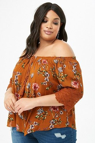 5bbe3aa1f08 Plus Size Floral Crochet Off-the-Shoulder Top | Products | Floral ...