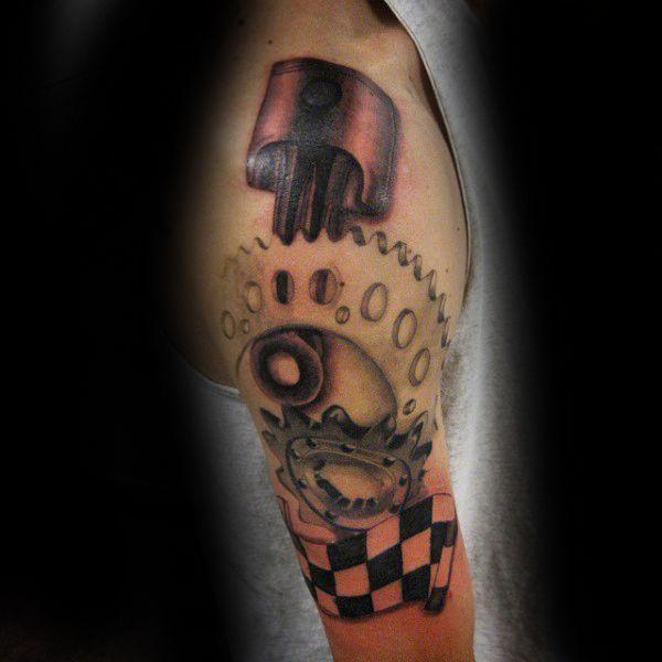 Pisa el acelerador de sus motores de moda con la potencia de fuego caballeresca de un tatuaje de motocross. emblemas bici de la suciedad se están convirtiendo en un gran éxito entre todos los entusias