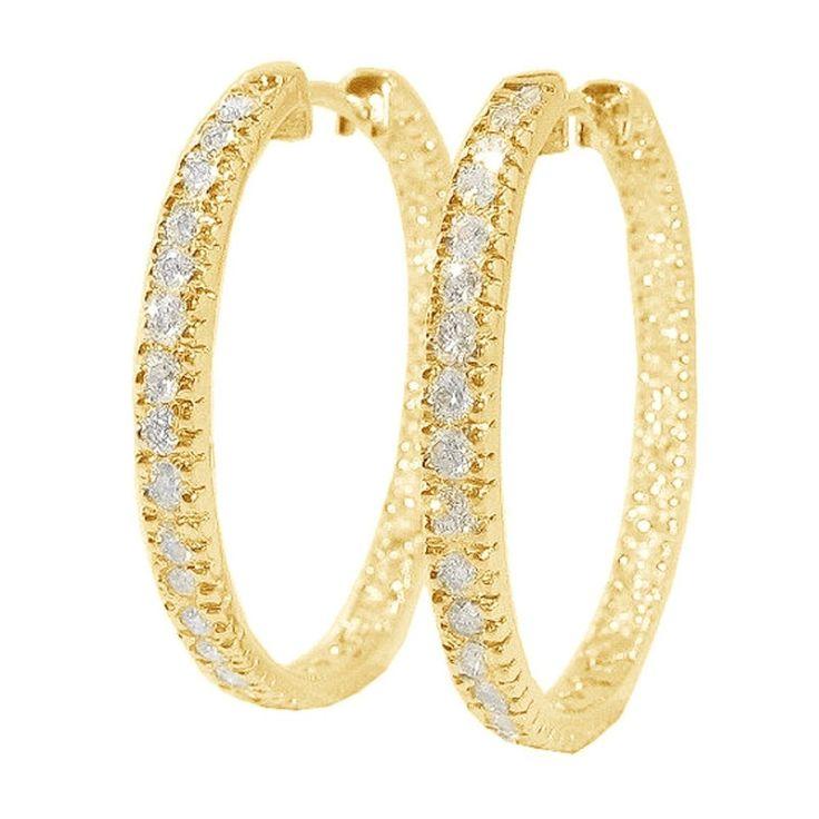 1.60Ct Hoop Earrings In & Out Side Diamond Jewelry 14K Yellow Gold Appraisal #Gemdepot #Hoop #Christmas