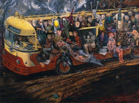 """Bronisław Linke - """"Autobus"""", 1959-61, olej na płótnie, 134 x 178,5 cm, Muzeum Narodowe, Warszawa"""