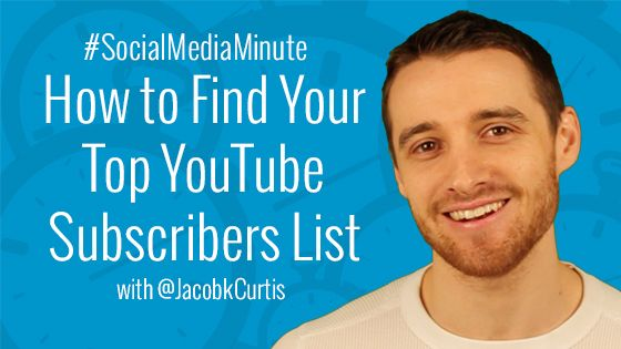 Ever wonder who your top YouTube subscribers are? Wouldn't it be nice to have a handy list of subscribers that conveniently displays your most popular or recent subs?  It sure would be! And thankfully that feature is now available on YouTube!  This week's #SocialMediaMinute will cover how to find your top YouTube subscribers list.    Now there's more than one reason you'll want to know this info so check it out in the video tutorial.