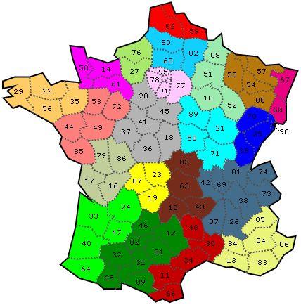 Carte interactive : Régions et départements sur carte de France