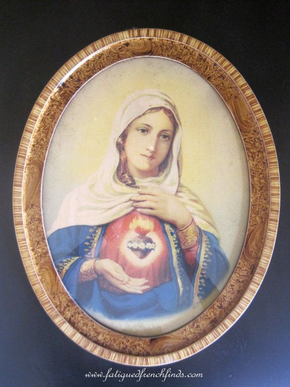 Antique French Religious Framed Portrait of by FatiguedFrenchFinds