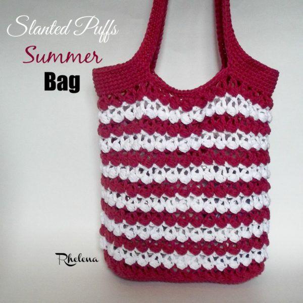 Slanted Puffs Summer Bag ~ FREE Crochet Pattern