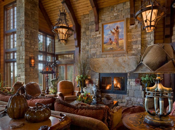 Winter lodge interior houses spaces and niches for Hunting lodge designs