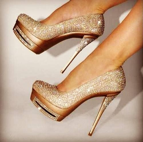 Beautiful crystals studded high heel #shoes