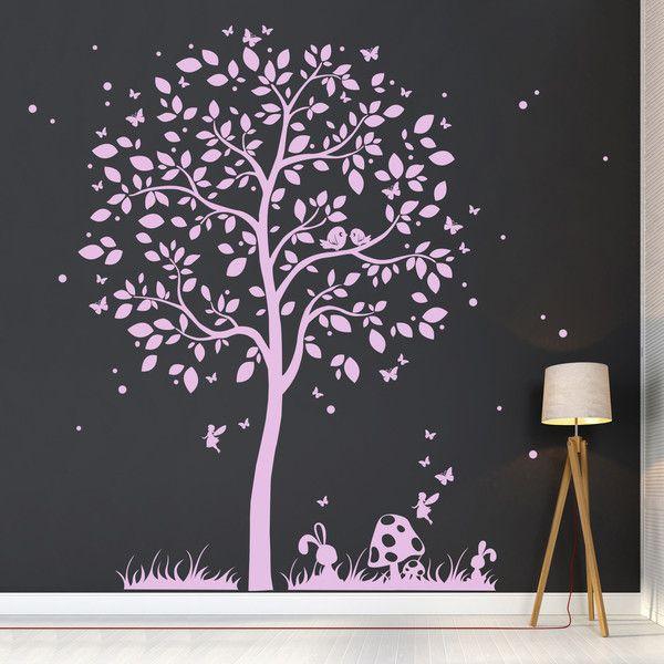 Marvelous Wandtattoo Baum mit Hase Elfe Schmetterlinge M
