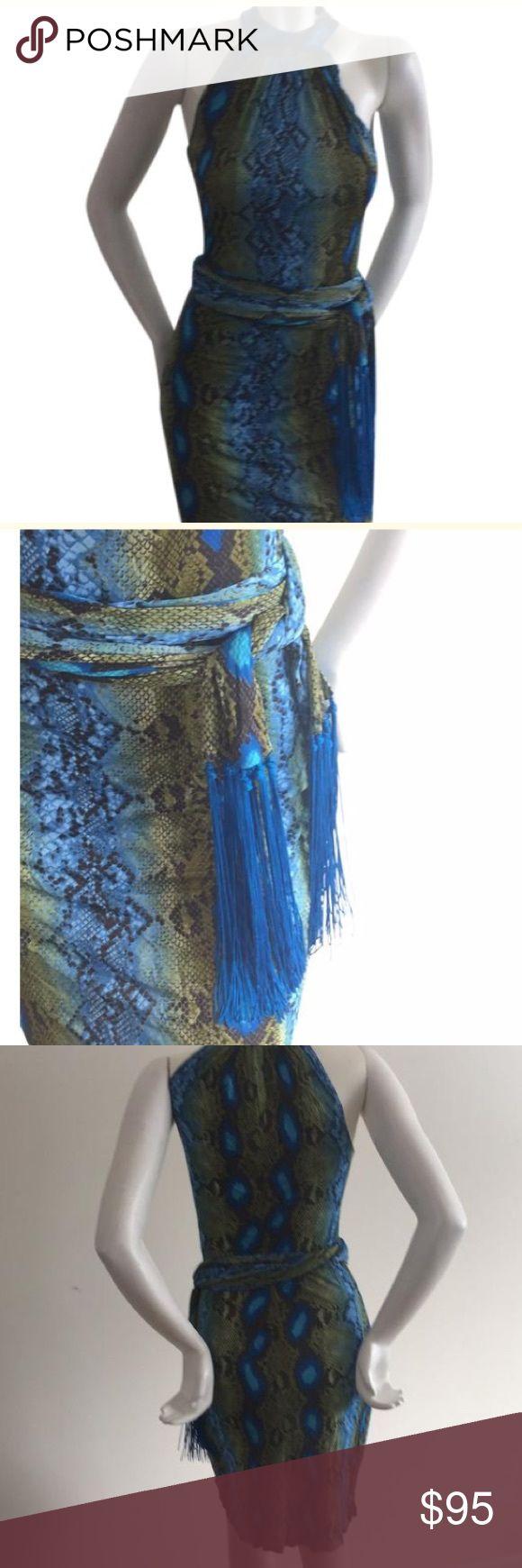 Micheal Kors python print dress Python print dress in perfect condition.  Removable belt with tassels. Michael Kors Dresses Midi