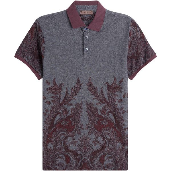 Etro Cotton Polo Shirt (355 CAD) ❤ liked on Polyvore featuring men's fashion, men's clothing, men's shirts, men's polos, grey, mens grey polo shirts, etro men's shirts, mens paisley shirt, mens polo shirts and mens slim shirts