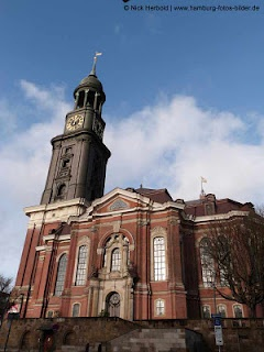 Sankt Michaelis Kirche - Hamburg. World War II so present in this city, with old buildings, modern buildings and bombed out ruins standing side by side-1985