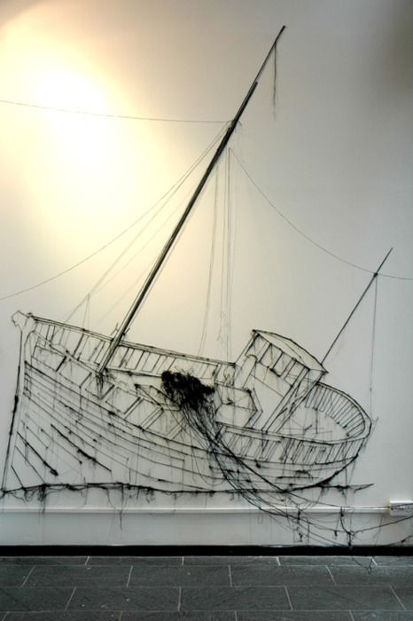 Pin and Thread Illustration by Debbie Smyth #installation #art #kunst