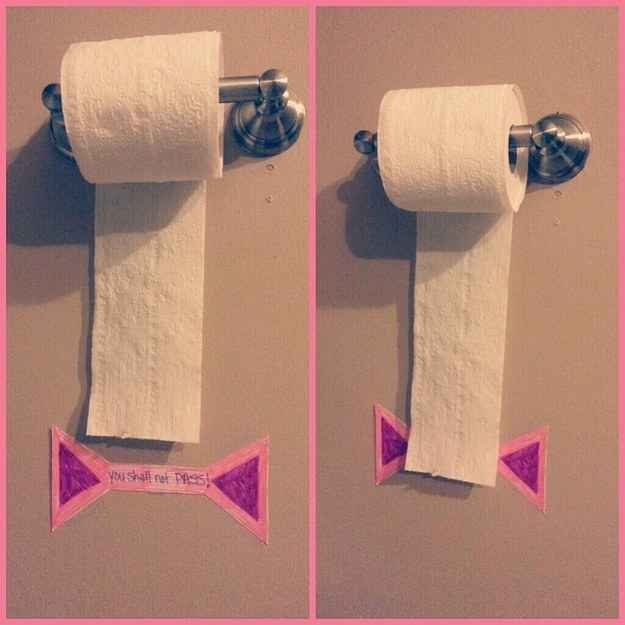 """The """"You Shall Not Pass"""" sign provides a visual limit to how much toilet paper your child can take. 