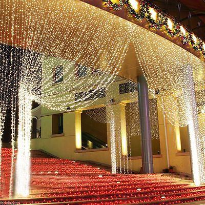 LED Eisregen Lichterkette Eiszapfen Lichtervorhang Vorhang aussen 3x3m 300LED