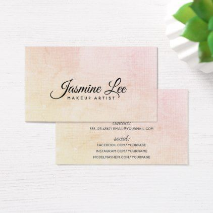 linen modern makeup artist pink simple business card - minimalist office gifts personalize office cyo custom