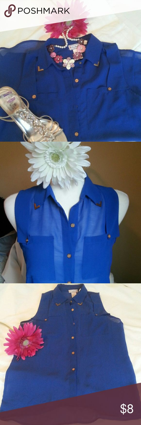 TOPS BOGO Sheer Sleeveless hi low blouse The most beautiful royal blue blouse with goldtone buttons and tipped collar.   EUC...no signs of wear. Great with white pants/shorts/skirt Soulmates Tops Blouses