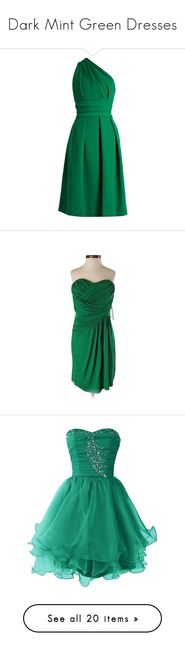 """""""Dark Mint Green Dresses"""" by tegan-b-riley on Polyvore featuring dresses, one shoulder dresses, one sleeve cocktail dress, pleated dresses, lace up dress, stretch satin dress, dark green, green dress, viscose dresses and green color dress"""