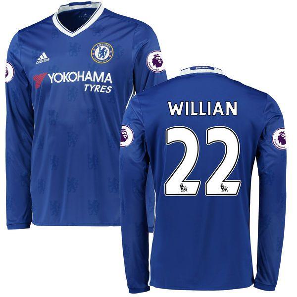 Men's adidas Willian Borges da Silva Blue Chelsea 2016/17 Replica Home EPL Badge Long Sleeve Jersey - $124.99